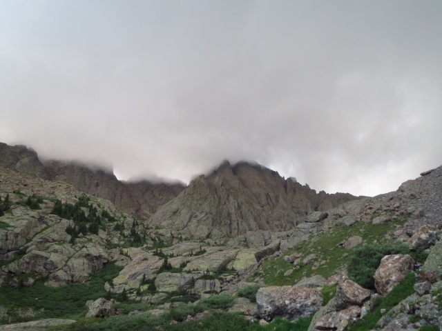 Crestone needle before it hailed on us.