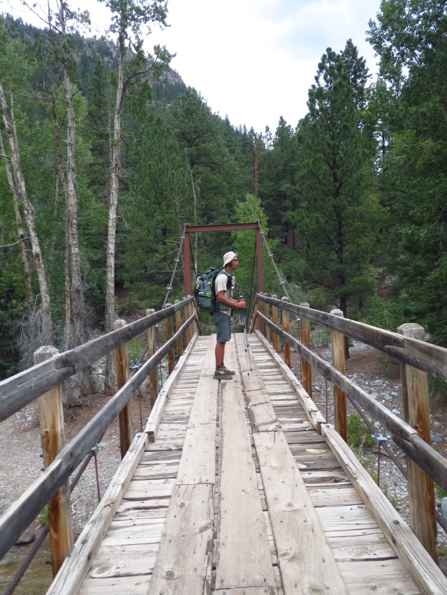 Luke crossing the Animas river.