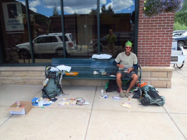 Organizing our resupply outside of the Telluride PO.