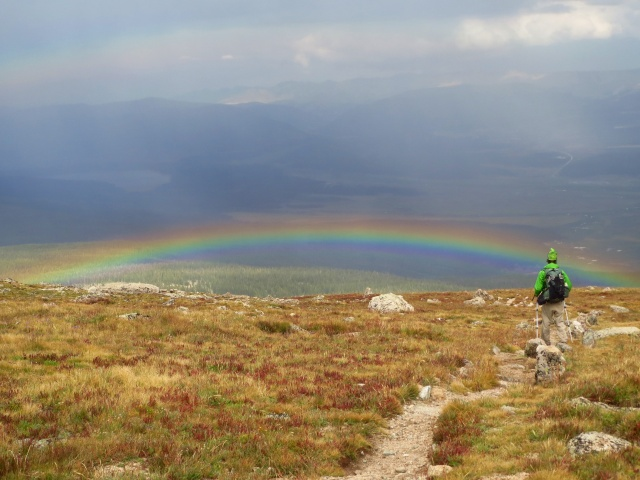 Another shot of Luke walking under the double rainbow on the down from Mt. Massive.