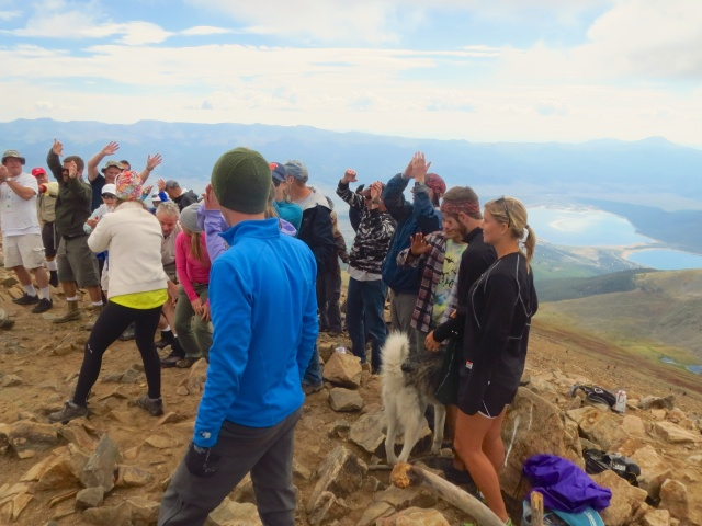 A rather large flash mob at the top of Elbert for a guy who was finishing the 14ers that day.