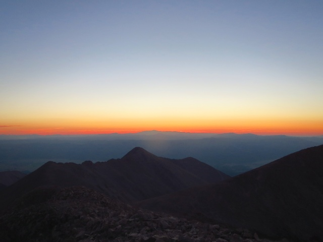 Sunrise from the summit of Tabeguache. We awoke around 2:30am to make a coffee summit sunrise.
