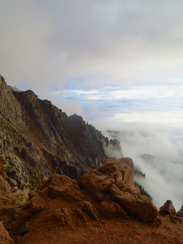 The clouds begin to gather as we parallel the road up to Pikes Peak's summit.