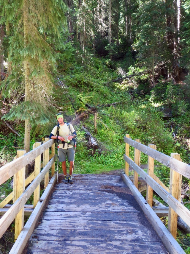 Luke crosses a bridge during the second day of our walk from Quandary thru Copper to Holy Cross.