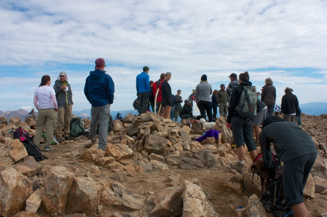 Another shot of the crowd celebrating on Mt. Elbert.
