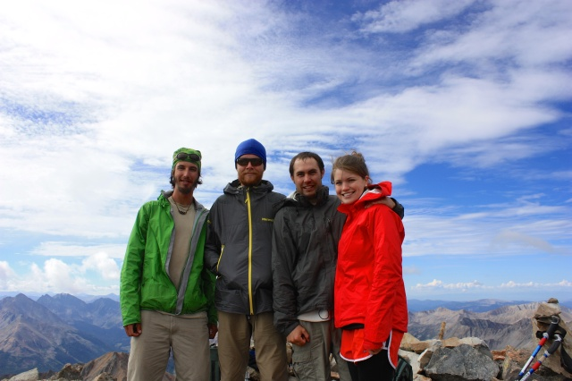 Luke and Junaid pose for a pic with Luke's friends on the top of La Plata peak.