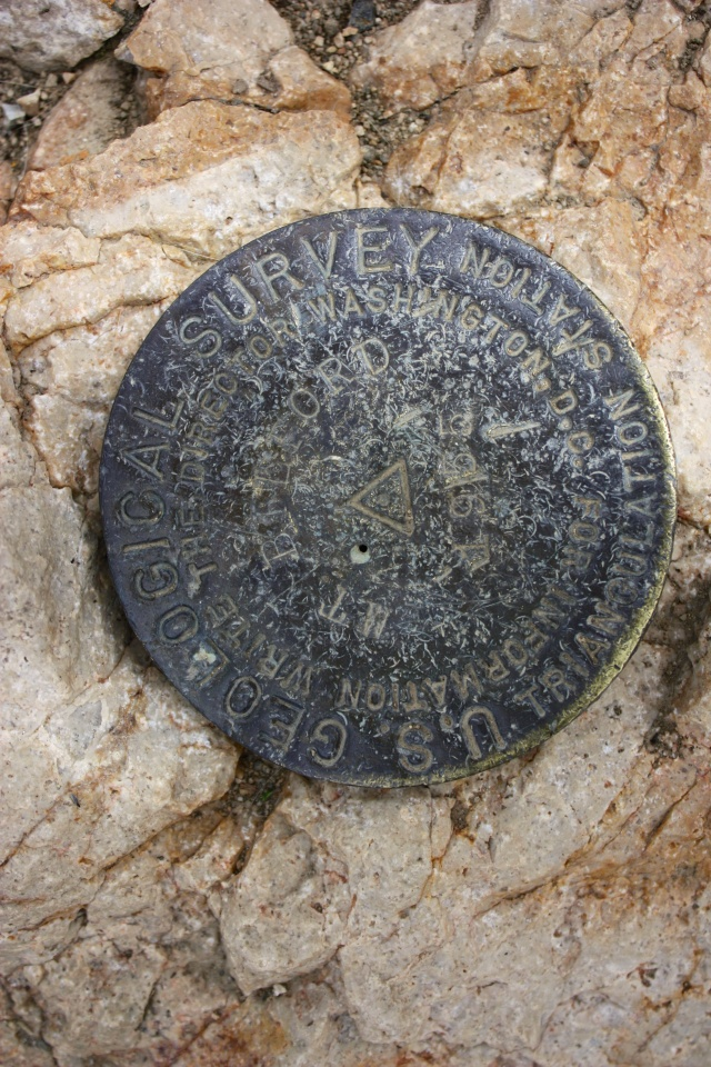 The Belford summit survey marker.