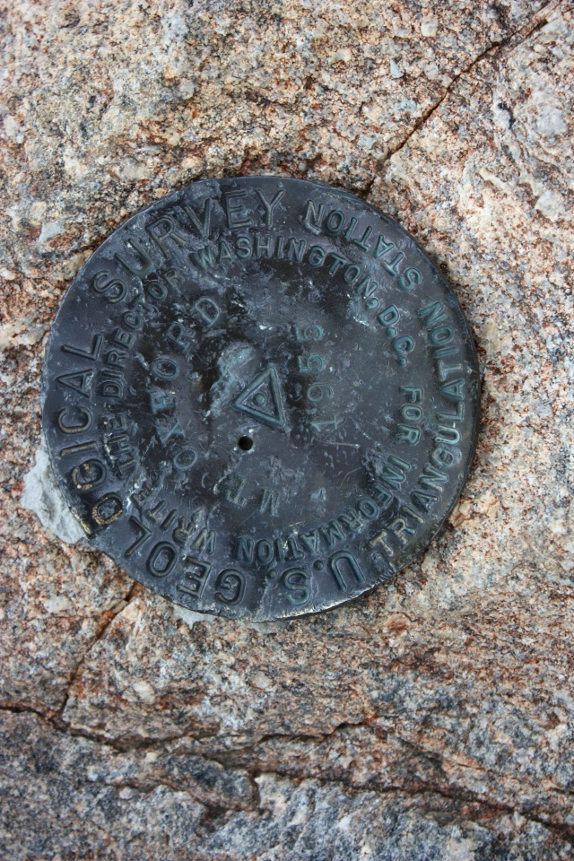 The Mt. Oxford summit survey marker.