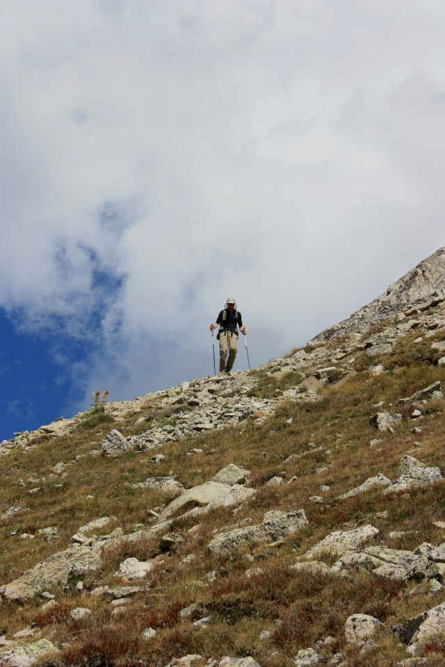Junaid descending from Yale's summit.