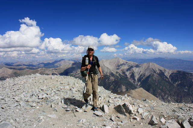 Junaid reaches the summit of Mt. Princeton.