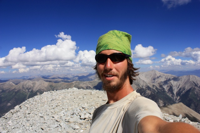 Luke on the summit of Mt. Antero.