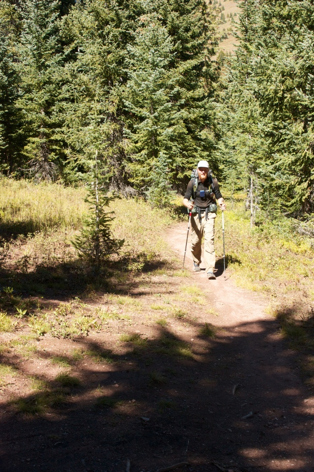 Junaid on the trail at Two Elk Pass.