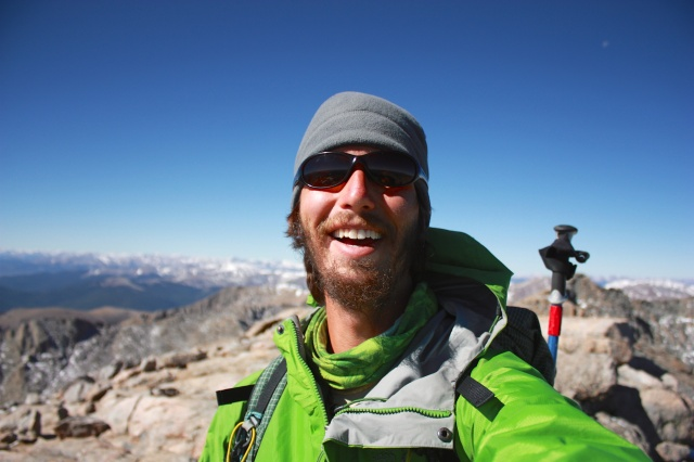 Luke on the Mt. Evans Summit. Since Luke had climbed Long's Peak before, this was his completion day for 14ers summits. Of course we were a week away from completing them as a Thru Hike.