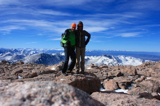 Luke and Junaid celebrate on the summit of Longs Peak.